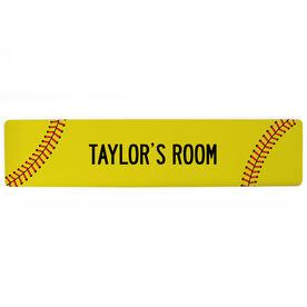 "Softball Aluminum Room Sign - Your Room Softball (4""x18"")"