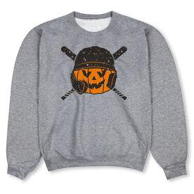 Baseball Crew Neck Sweatshirt - Helmet Pumpkin