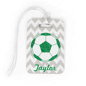 Soccer Bag/Luggage Tag - Personalized Glitter Soccer Ball