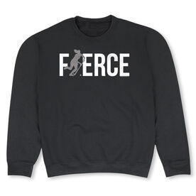 Field Hockey Crew Neck Sweatshirt - Fierce Field Hockey Girl with Silver Glitter