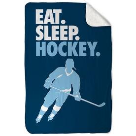 Hockey Sherpa Fleece Blanket - Eat. Sleep. Hockey. Vertical