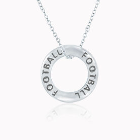 Sterling Silver Football Message Ring Necklace