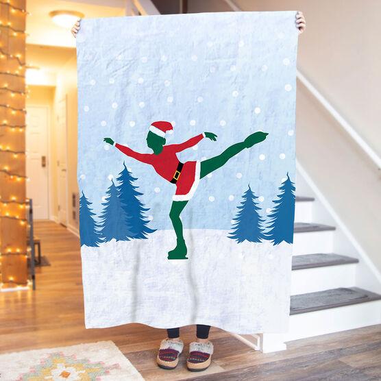 Figure Skating Premium Blanket - Santa Figure Skater