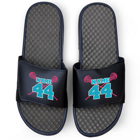 Girls Lacrosse Navy Slide Sandals - Crossed Sticks with Name & Number