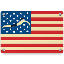 Swimming Metal Wall Art Panel - American Swimmer (Guy)
