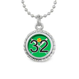 Softball Crossed Bats Your Number SportSNAPS Necklace
