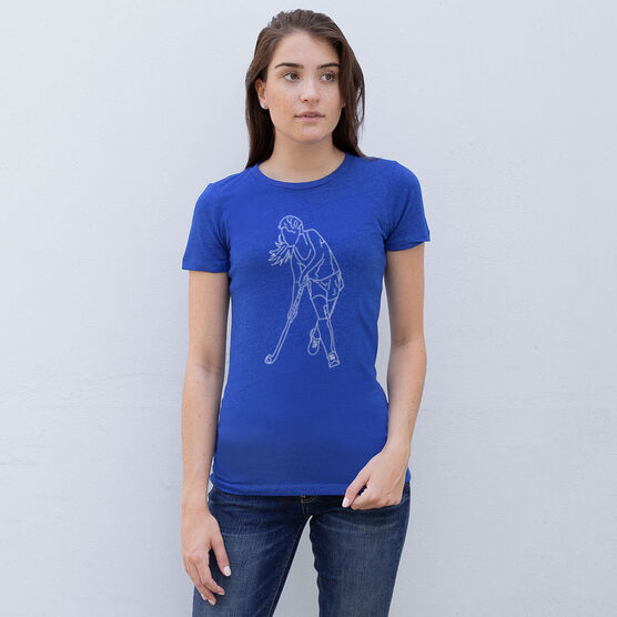 Field Hockey Women's Everyday Tee - Field Hockey Player Sketch
