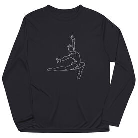 Gymnastics Long Sleeve Performance Tee - Gymnast Sketch