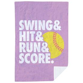 Softball Premium Blanket - Swing & Hit & Run & Score