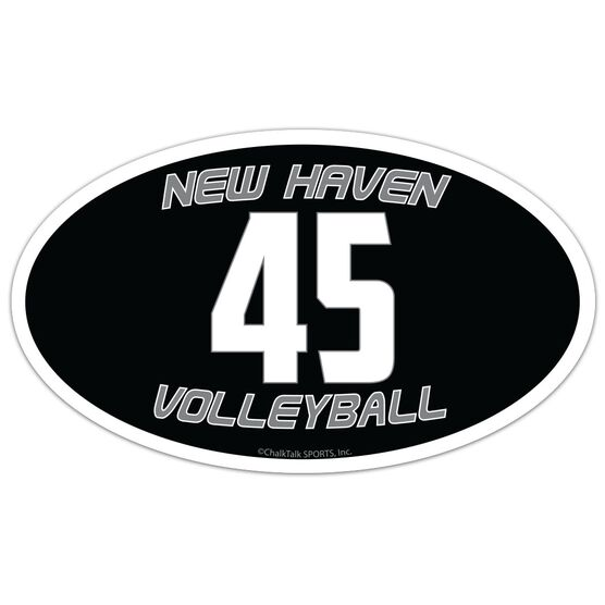 Volleyball Oval Car Magnet Team Name and Number