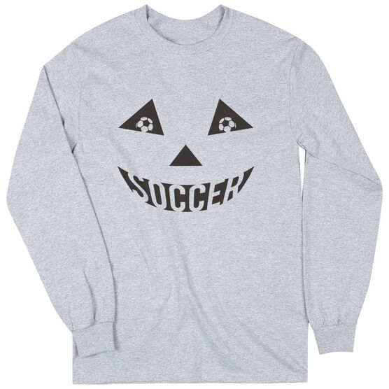 Soccer Long Sleeve Tee - Soccer Pumpkin Face