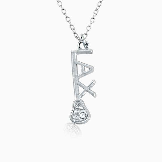 Silver LAX Stick Necklace with Cubic Zirconia