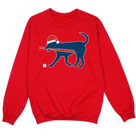 Baseball Crew Neck Sweatshirt - Christmas Baseball Dog