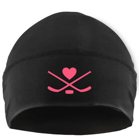Beanie Performance Hat - Hockey Sticks with Puck and Heart