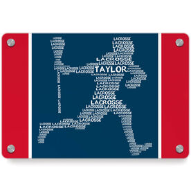 Guys Lacrosse Metal Wall Art Panel - Personalized Words Male Player