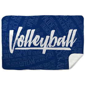 Volleyball Sherpa Fleece Blanket Volleyball Words
