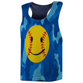 Softball Racerback Pinnie - Softball Smiley