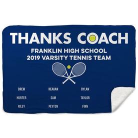 Tennis Sherpa Fleece Blanket - Thanks Coach (Horizontal)