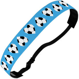 Soccer Julibands No-Slip Headbands - Soccer Ball Hearts