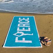 Cheerleading Premium Beach Towel - Fierce with Silhouette