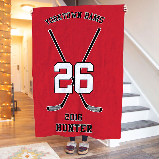 Hockey Premium Blanket - Personalized Team Crossed Sticks