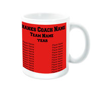 Basketball Coffee Mug Thanks Coach Custom Logo With Team Roster