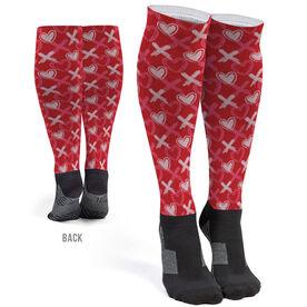 Printed Knee-High Socks - Hearts and Xs