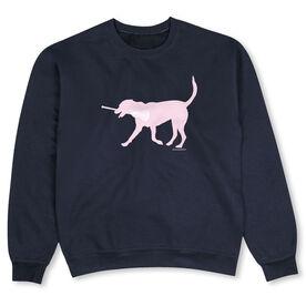 Girls Lacrosse Crew Neck Sweatshirt - LuLa the LAX Dog (Pink)
