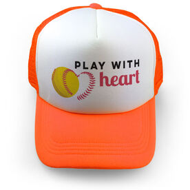 Softball Trucker Hat Play with Heart