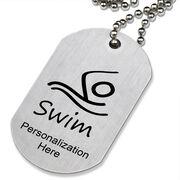 Swim Figure Printed Dog Tag Necklace