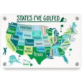 Golf Metal Wall Art Panel - States I've Golfed (Dry Erase)
