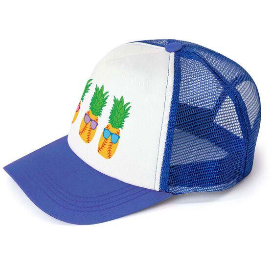 Softball Trucker Hat Pineapples with Sunglasses