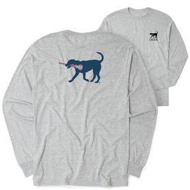 Girls Lacrosse Tshirt Long Sleeve - Lula The Lax Dog Blue (Logo Collection)