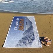Skiing Premium Beach Towel - I'd Rather Be Skiing