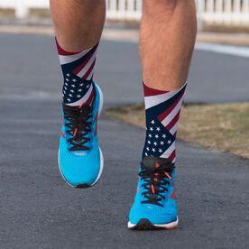 Printed Mid-Calf Socks - American Yes We Are