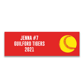 "Softball 12.5"" X 4"" Removable Wall Tile - Personalized Team"