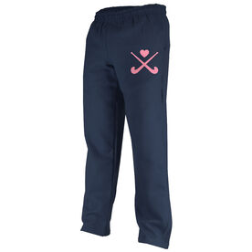 Field Hockey Fleece Sweatpants Field Hockey Crossed Sticks with Heart