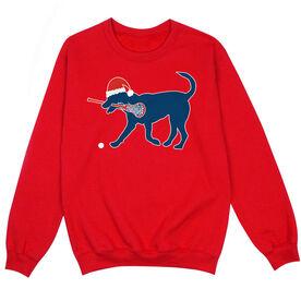 Girls Lacrosse Crew Neck Sweatshirt - Girls Lacrosse Christmas Dog