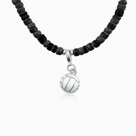 Natural SportBEAD Adjustable Necklace - Enamel Volleyball Charm