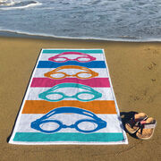 Swimming Premium Beach Towel - Colorful Swim Goggles