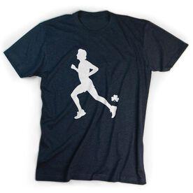 Running Short Sleeve T-Shirt - Male Runner With Shamrock