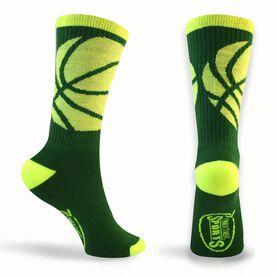 Basketball Woven Mid-Calf Socks - Ball Wrap (Green/Neon Yellow)