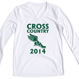 Women's Customized White Long Sleeve Tech Tee Cross Country Winged Foot