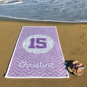 Volleyball Premium Beach Towel - Personalized with Chevron