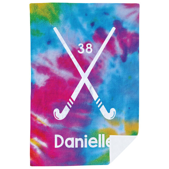 Field Hockey Premium Blanket - Personalized Tie-Dye Pattern With Field Hockey Sticks