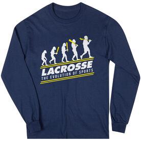 Guys Lacrosse Long Sleeve T-Shirt - Evolution of Lacrosse