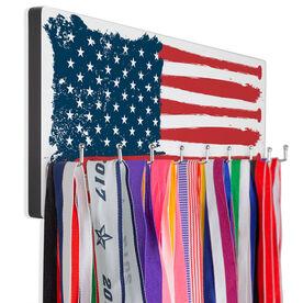 Baseball Hooked on Medals Hanger - American Flag