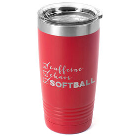 Softball 20oz. Double Insulated Tumbler - Caffeine, Chaos and Softball