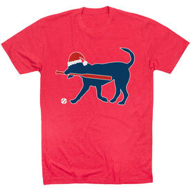 Softball T-Shirt Short Sleeve Play Ball Christmas Dog