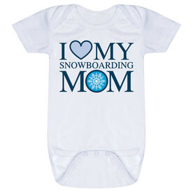 Snowboarding Baby One-Piece - I Love My Snowboarding Mom